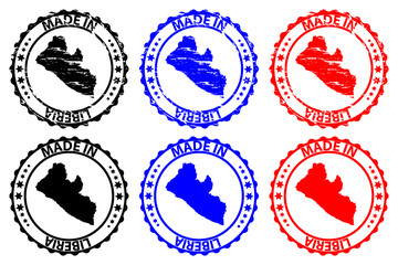 Made in Liberia - rubber stamp - vector, Liberia map pattern - black, blue and red