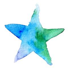Watercolor star icon. Vector illustration