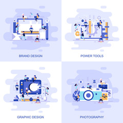Modern flat concept web banner of Photography, Graphic Design, Power Tools and Brand Design with decorated small people character.