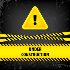 Under construction sign on black ground background. Vector illustration for website. Under construction triangle with black and yellow striped borders vector illustration. Process of building.