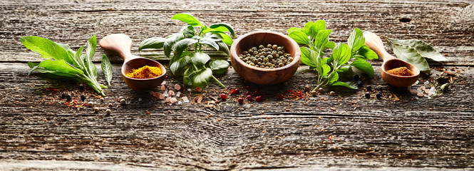 In de dag Kruiden Spices and herbs on wooden board