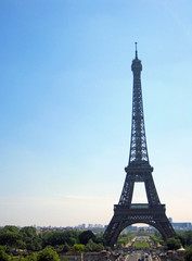 The Eiffel Tower in Paris, France, monument La Tour Eiffel, view with sky, trees and streets.