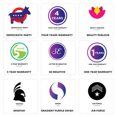 Set Of 9 simple editable icons such as air force, Gradient Purple swish, spartan