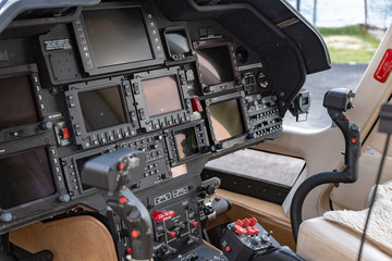 Helicopter cockpit detail close up