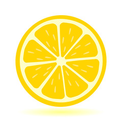 Icon lemon. Fresh lemon fruits and slice. Isolated on white background. Vector