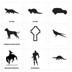 Set Of 9 simple editable icons such as , superman, bucking bronco