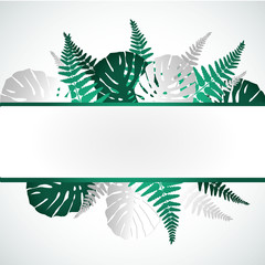 Summer sale banner with paper cut tropical leaves background, exotic floral design for banner, flyer, invitation, poster, web site or greeting card. Paper cut style, vector illustration.