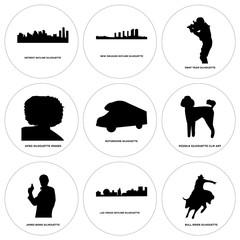 Set Of 9 simple editable icons such as bull rider, las vegas sky, james bond