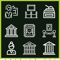 Set of 9 museum outline icons