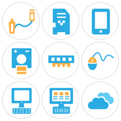 Set Of 9 simple editable icons such as Computing cloud, Laptop, Laptop