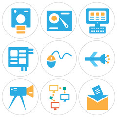 Set Of 9 simple editable icons such as Email, Networking, Video camera