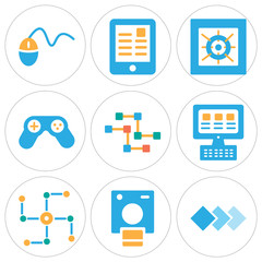 Set Of 9 simple editable icons such as Layers, Polaroid, Networking