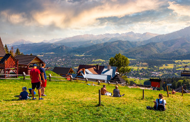 tourist observe High Tatra mountains. beautiful location in Zakopane village, Poland