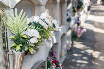 Printed roller blinds Cemetery Flowers in a cemetery