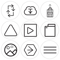 Set Of 9 simple editable icons such as Menu, Youtube, Picture