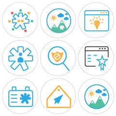 Set Of 9 simple editable icons such as Image, Tag, Clipboard