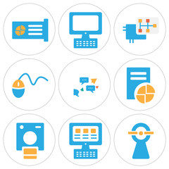 Set Of 9 simple editable icons such as Web cam, Laptop, Polaroid