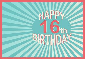 Happy 16th Birthday in cartoon style