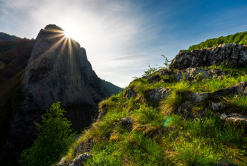 sunrise in Canyon of Trascau mountains. lovely scenery of Carpathian landscape in springtime. beautiful travel destination. location Cheile Valisoarei, Romania