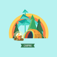 Camping. Vector illustration. Summer holidays in a tent on the nature.