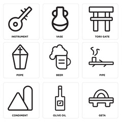 Set Of 9 simple editable icons such as Geta, Olive oil, Condiment