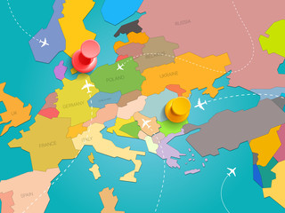 World travel concept. Vector illustration with map of Europe and color pins