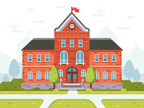 College campus for students or university building. Student house entrance vector illustration
