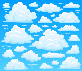 Cartoon fluffy cloud at azure skyscape. Heavenly clouds on blue sky, atmospheric cloudscape vector illustration