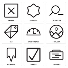Set Of 9 simple editable icons such as Padnote, Correct, Bookmark