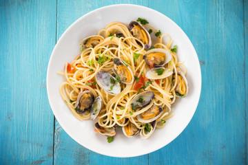 Piatto di spaghetti con vongole, Cucina Mediterranea