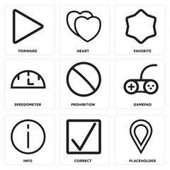 Set Of 9 simple editable icons such as Placeholder, Correct, Info