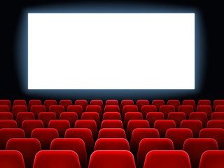 Movie premiere event at cine theatre. Cinema white blank screen at movie hall interior with empty seats vector background