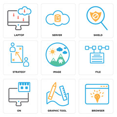 Set Of 9 simple editable icons such as Browser, Graphic tool, On