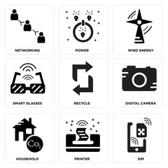 Set Of 9 simple editable icons such as Sim, Printer, Household