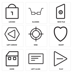 Set Of 9 simple editable icons such as Play, Left align, Home