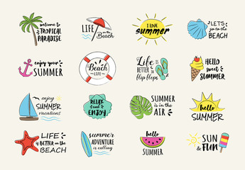 Summer vacations - colorful stickers with hand drawn icons. Vector.