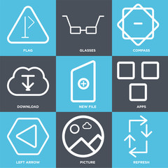 Set Of 9 simple editable icons such as Refresh, Picture, Left arrow