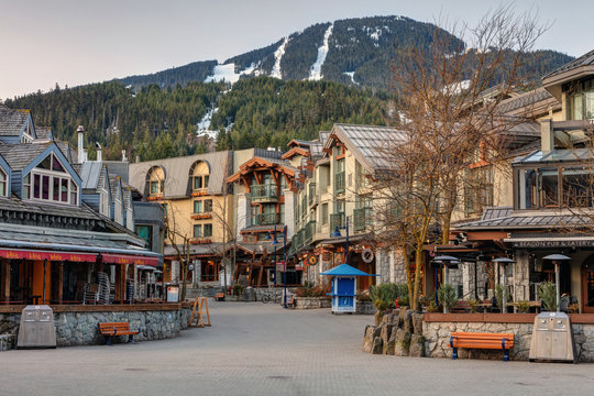 Whistler Village Square on a quiet morning in Spring