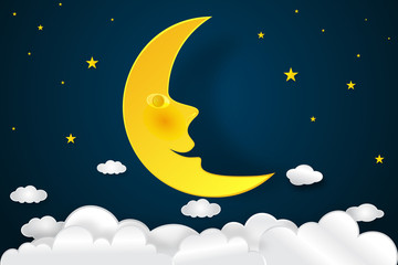 Smile half moon, clouds and stars in the night as paper art and craft style concept. vector illustrator.