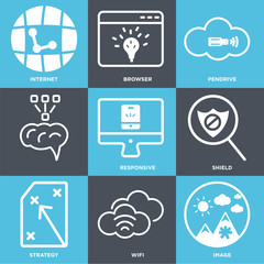 Set Of 9 simple editable icons such as Image, Wifi, Strategy