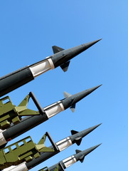 Rocket system Neva, missiles ready to launch to the sky
