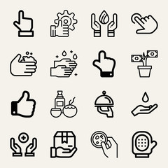 Set of 16 hand outline icons