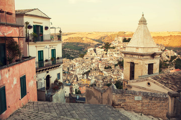 The view on Ragusa town, Sicily, Italy.