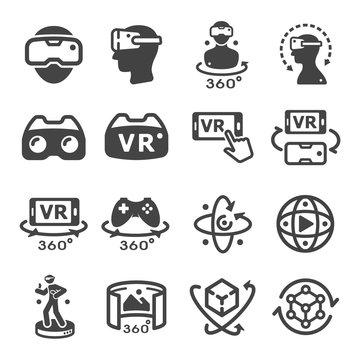 virtual reality technology icon set