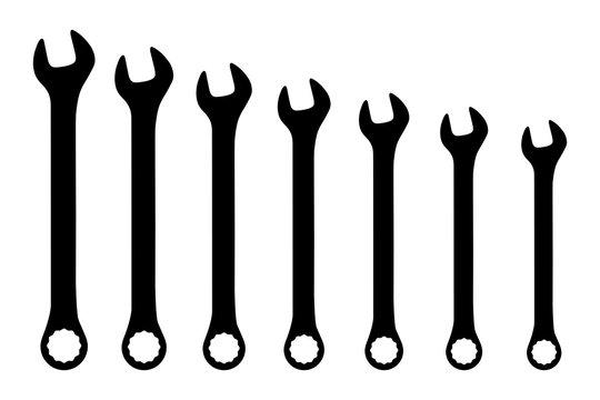 Vector black wrench spanner set on white background