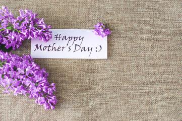 Dzień Matki - bukiet kwiatów bzu z tekstem