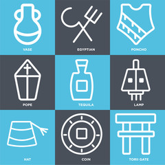 Set Of 9 simple editable icons such as Torii gate, Coin, Hat