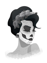 woman with sugar skull makeup and wreath of roses