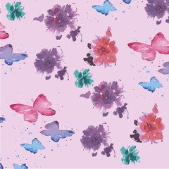 Floral Pattern with Butterfly Illustration