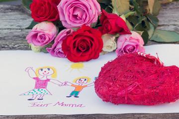 Selbstgemaltes Bild mit Rosen und Herz zum Muttertag